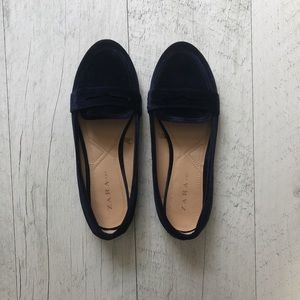 Zara TRF Velvet Navy Blue Loafers
